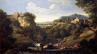 Italian landscape showing a hunting scene, by Gaspard Dughet (1615-1675).  Florence, Palazzo Pitti (Pitti Palace) Galleria Palatina (Palatine Gallery)