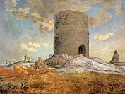 The tower of Chailly in Barbizon, by Jean-Jean-Francois Millet (1814-1875).  The Hague, Museum Mesdag (Art Gallery)