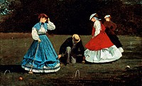 The croquet game, 1866, by Winslow Homer 1836_1910, oil on canvas, 40.3x66.2 cm.