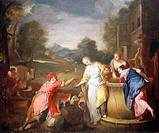 Rebecca and Eliezer, 1700-1705, by Gregorio Lazzarini (1655-1730).  Venice, Ca' Rezzonico (Museo Del Settecento Veneziano, Art Museum)