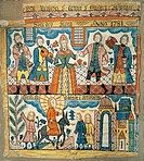Wedding at Cana and Christ's entry into Jerusalem, 1781, by Per Nilsson (1741-1820), carpet.  Stockholm, Musikmuseet (Music Museum)