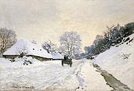 The Carriage- The Road to Honfleur under Snow, 1867, by Claude Monet (1840-1926).  Paris, Musée D'Orsay (Art Gallery)
