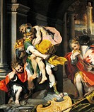 Aeneas and Anchises, detail from Aeneas escaping from Troy, 1598, by Federico Barocci (1535-1612), oil on canvas.  Rome, Galleria Borghese (Archaeolog...