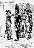Napoleon I, 15.8.1769 _ 5.5.1821, Emperor of the French 2.12.1804 _ 22.6.1815, complimenting a grenadier of the Italian Army, 1796/1797, wood engravin...