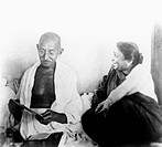 Mahatma Gandhi and Sarojini Naidu at Birla House , Mumbai , 1945 , India NO MR