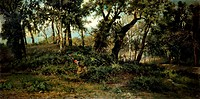 Country scene, by Francesco Capuano (1854-1908), oil on canvas, 105x208 cm. Palace of Police Headquarters, Naples.