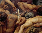 Diana of Ephesus and the Slaves, 1895-1899, by Giulio Aristide Sartorio (1860-1932), oil on canvas, 304x421 cm. Detail.  Rome, Galleria Nazionale D'Ar...