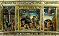 Triptych with Ascension, Adoration of the Magi and the Circumcision, by Andrea Mantegna, 1463_1464, tempera on wood