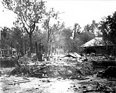 Destruction caused by riots between Hindus and Muslims in Noakhali East Bengal , November 1946 , India