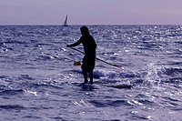 Stand Up Paddle Surf on the beach in Castelldefels, Spain