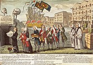 The Repeal, or the Funeral Procession of Miss America-Stamp, anti-British cartoon against the American Stamp Act, 1766. The United States, 18th centur...