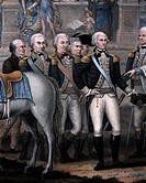 Washington, Hamilton, Rochambeau and General Lincoln, detail from The British surrendering their arms to General George Washington after their defeat ...
