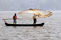 Fishing in Cherai backwater , Kerala , India