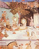 Shah Jahan, 5.1.1592 _ 22.1.1666, Mughal Emperor of India 1627 _ 1658, scene, Shah Jahan and his 5 sons visiting the hermit Pir Muhammad, miniature pa...