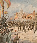 Franco's Spain entering Madrid with its victory flags. Achille Beltrame (1871-1945) from La Domenica del Corriere April 2, 1939.