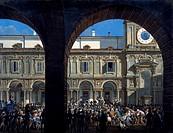General Domenico Pino addressing the insurgents in Piazza Mercanti in Milan, April 21, 1814, by Giovanni Migliara (1785-1837). Italy, 19th century.  M...