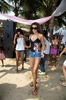 Women making party on launch of Puma brand at beach ; Bombay now Mumbai ; Maharashtra ; India NO MR
