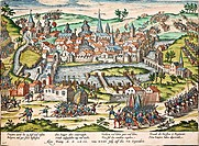 The Papists lay seige to Poitiers, July 1569, engraving by Franz Hogenberg (1535-1590). Wars of Religion, France, 16th century.  Geneva, Bibliothèque ...