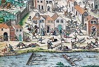Scene from the French Wars of Religion, engraving by Franz Hogenberg (1535-1590). France, 16th century.  Geneva, Bibliothèque Publique Et Universitair...