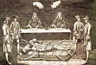 The interrogation and torture of Robert-Francois Damien known as Robert the Devil, 1757, engraving. France, 18th century.  Versailles, Château De Vers...