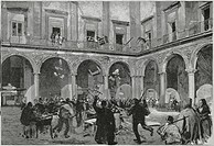 Destruction of the offices of the district court in Mazara del Vallo, 1894. Fasci Siciliani dei Lavoratori (Sicilian Workers Leagues), Italy, 19th cen...