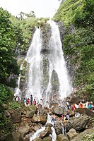 Popular waterfall of Amboli Ghat tourist bathing ; Sawantwadi to Amboli Hill station ; Maharashtra ; India