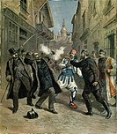 The assassination of Minister Beltchef in front of the Bulgarian Prime Minister Stefan Nikolov Stambolov, 1891, in Sofia. Bulgaria, 19th century.