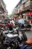 Old mass urban housing buildings at V. P. road ; Charni Road ; Bombay Mumbai ; Maharashtra ; India