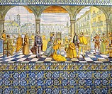 The presentation of Don John of Austria in Valladolid, May 21, 1559 , painted tiles from Talavera. Palace of the Deputation, Valladolid, Spain, 16th c...