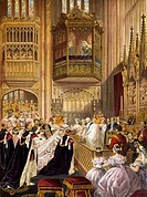 St George's Chapel in Windsor, the wedding of Edward VII, Prince of Wales, and Alexandra of Denmark, 1863. Victorian age, England, 19th century.  Pari...