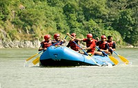 Water rafting at Rishikesh on river ganga , Uttaranchal , India
