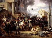 March 30, 1814, Barricade of Clichy in defense of Paris, 1820, by Horace Vernet (1789-1863), oil on canvas, 98x131 cm. Napoleonic Wars, France, 19th c...