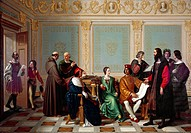 Leonardo da Vinci receiving the commission for the Last Supper at Ludovico il Moro's court in Milan, 1495, by Giuseppe Diotti (1779-1846), 1823. Age o...