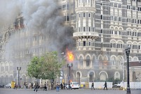 Fire inside the Taj Mahal hotel ; after terrorist attack by Deccan Mujahedeen on 26th November 2008 in Bombay Mumbai ; Maharashtra ; India