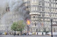 Fire inside the Taj Mahal hotel ; after terrorist attack by Deccan Mujahedeen on 26th November 2008 in Bombay Mumbai ; Maharashtra ; India