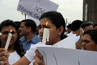 Protestors with banners outside the Taj Mahal hotel , after terrorist attack by Deccan Mujahedeen on 26th November 2008 in Bombay Mumbai , Maharashtra...