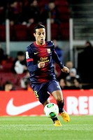 16 01 2013 Barcelona, Spain Thiago in action during the Spanish Copa del Rey game between Barcelona and Malaga from the Nou Camp
