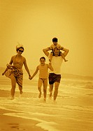 Family Running in the Waves
