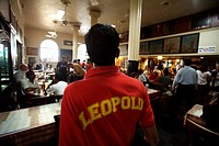 Scene of Leopold cafe after it reopened on 2nd December 2008 after terrorist attack by Deccan Mujahedeen in Bombay Mumbai , Maharashtra , India