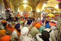 Celebrations of 300th year of consecration of perpetual Guru Granth Sahib Sikh , devotees praying at Sachkhand Saheb Gurudwara in Nanded , Maharashtra...