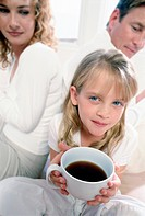 Cheerful Daughter Holding Coffee
