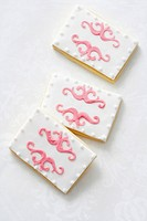 Pink and white biscuits