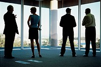 Rear view of four business people looking out an office window