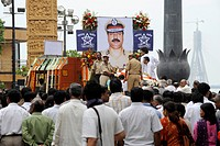 Homage to Chief of Anti Terrorism Squad Hemant Karkare after killed by terrorist attack in Bombay Mumbai , Maharashtra , India 26_November_2008 NO MR