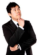 young asian business man thinking
