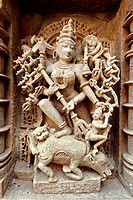 Mahishasurmardini , Rani ki vav , step well , stone carving , Patan , Gujarat , India