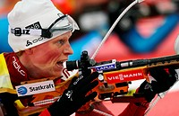 Tora Berger of Norway competes in the 10 km women pursuit race at the Biathlon World Championship in Nove Mesto na Morave, Czech Republic, Sunday, Feb...