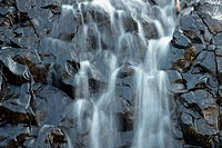 Blurry view of water flowing down rocks