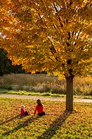 Mother and daughter sitting in fall leaves