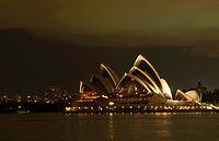 Sydney Opera Theatre at night ; Sydney ; New South Wales ; Australia